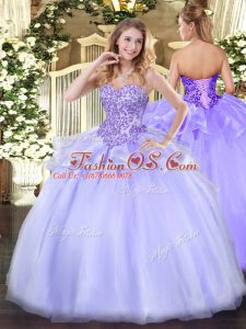 Fabulous Sweetheart Sleeveless Lace Up Quinceanera Dress Lavender Organza