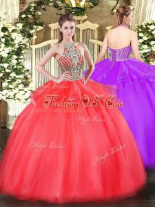 Extravagant Ball Gowns Ball Gown Prom Dress Coral Red Halter Top Tulle Sleeveless Floor Length Lace Up