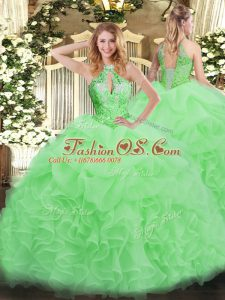 Organza Sleeveless Floor Length Quinceanera Gowns and Beading