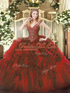 Wine Red Lace Up V-neck Beading and Ruffles 15 Quinceanera Dress Organza Sleeveless