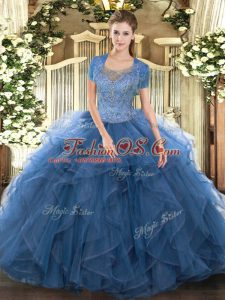 Super Teal Tulle Clasp Handle Quinceanera Dress Sleeveless Floor Length Beading and Ruffled Layers
