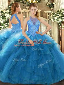 Teal High-neck Lace Up Beading and Ruffles Vestidos de Quinceanera Sleeveless