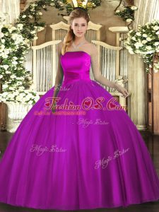 Best Selling Fuchsia Strapless Lace Up Ruching Quinceanera Dress Sleeveless