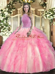 High-neck Sleeveless Tulle Sweet 16 Dress Beading and Ruffles Lace Up