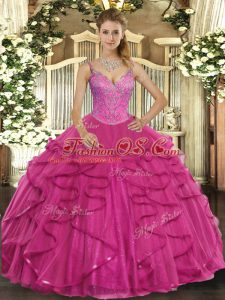 Dynamic Hot Pink Ball Gowns V-neck Sleeveless Tulle Floor Length Lace Up Beading and Ruffles Ball Gown Prom Dress