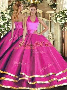 Hot Selling Fuchsia Tulle Lace Up Sweet 16 Quinceanera Dress Sleeveless Floor Length Ruffled Layers