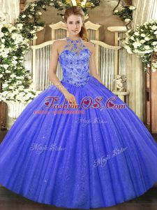 Luxurious Blue Quinceanera Gowns Military Ball and Sweet 16 and Quinceanera with Beading and Embroidery Halter Top Sleeveless Lace Up