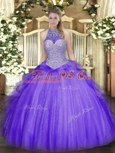 Lavender Sleeveless Beading and Ruffles Floor Length Sweet 16 Quinceanera Dress