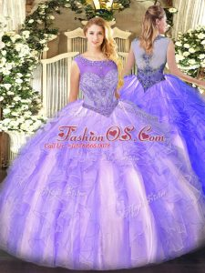 Sleeveless Floor Length Beading and Ruffles Lace Up Sweet 16 Quinceanera Dress with Lavender