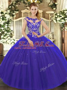 Royal Blue Scoop Neckline Beading and Appliques 15th Birthday Dress Cap Sleeves Lace Up
