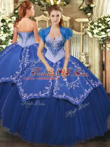 Ball Gowns 15 Quinceanera Dress Blue Sweetheart Satin and Tulle Sleeveless Floor Length Lace Up