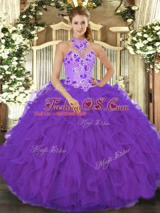 High Quality Purple Ball Gowns Halter Top Sleeveless Organza Floor Length Lace Up Beading and Embroidery and Ruffles Quinceanera Dresses
