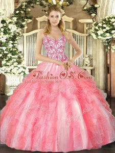 Beauteous Straps Sleeveless Lace Up Quince Ball Gowns Coral Red Tulle