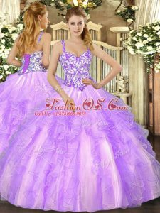 Sleeveless Lace Up Floor Length Beading and Appliques and Ruffles Quinceanera Dresses