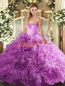 Lilac Lace Up Sweetheart Beading Vestidos de Quinceanera Fabric With Rolling Flowers Sleeveless