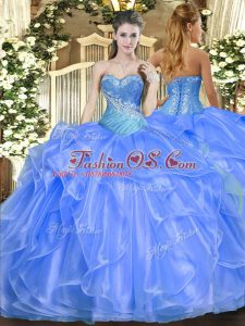 Baby Blue Ball Gowns Organza Sweetheart Sleeveless Beading and Ruffles Floor Length Lace Up Vestidos de Quinceanera