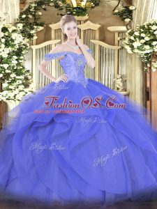 Off The Shoulder Sleeveless Quinceanera Dress Floor Length Beading and Ruffles Blue Tulle
