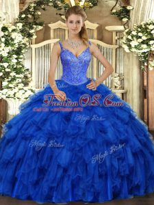 Gorgeous Royal Blue V-neck Lace Up Beading and Ruffles Ball Gown Prom Dress Sleeveless