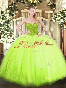 Extravagant Organza and Tulle Sleeveless Floor Length Sweet 16 Dresses and Beading