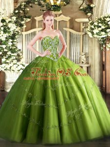 Custom Design Olive Green Sleeveless Beading and Appliques Floor Length Sweet 16 Quinceanera Dress