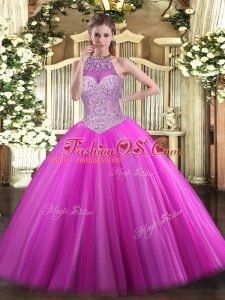 Dramatic Fuchsia Tulle Lace Up Vestidos de Quinceanera Sleeveless Floor Length Beading
