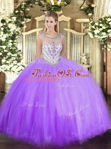 Sexy Lavender Zipper Scoop Beading Sweet 16 Quinceanera Dress Tulle Sleeveless