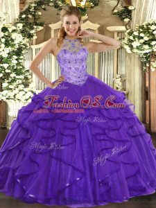 Halter Top Sleeveless Quinceanera Dress Floor Length Beading and Ruffles Purple Organza