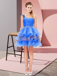 Sleeveless Mini Length Beading and Ruffled Layers Lace Up Party Dress for Girls with Blue