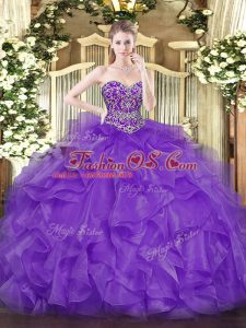 Ball Gowns Vestidos de Quinceanera Lavender Sweetheart Organza Sleeveless Floor Length Lace Up