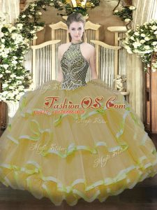 Ball Gowns Sweet 16 Quinceanera Dress Gold Halter Top Organza Sleeveless Floor Length Lace Up
