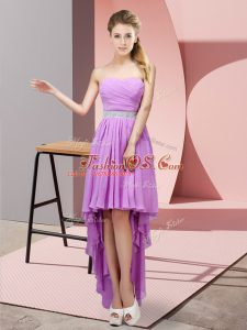 Lavender Lace Up Casual Dresses Beading Sleeveless High Low