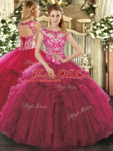 Fuchsia Ball Gowns Beading and Ruffles Sweet 16 Dresses Lace Up Organza Sleeveless Floor Length