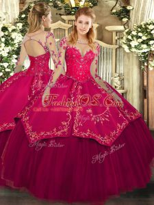 Fancy Wine Red Organza and Taffeta Lace Up Quinceanera Dress Long Sleeves Floor Length Lace and Embroidery
