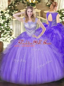 Floor Length Lavender Sweet 16 Dresses Tulle Sleeveless Beading
