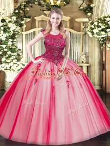 Superior Red Tulle Zipper Quince Ball Gowns Sleeveless Floor Length Beading