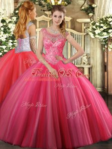 Coral Red Ball Gowns Tulle Scoop Sleeveless Beading Floor Length Lace Up Sweet 16 Quinceanera Dress