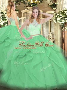 Most Popular Apple Green Two Pieces Lace and Ruffles Quinceanera Dress Zipper Tulle Sleeveless Floor Length