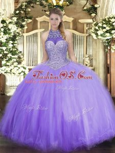 Adorable Lavender Sleeveless Floor Length Beading Lace Up 15 Quinceanera Dress