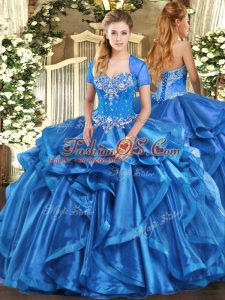 Custom Designed Baby Blue Sweetheart Neckline Beading and Ruffles Quinceanera Gown Sleeveless Lace Up