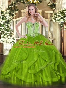 Sleeveless Beading and Ruffles Lace Up Sweet 16 Dress