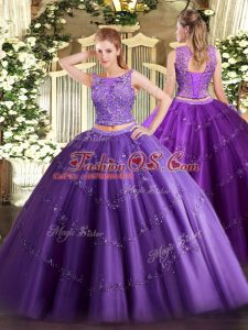 Purple Sleeveless Beading and Appliques Floor Length 15 Quinceanera Dress