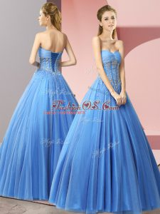 Beautiful Baby Blue Sweetheart Lace Up Beading Prom Dress Sleeveless