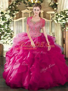 Vintage Floor Length Fuchsia Ball Gown Prom Dress Scoop Sleeveless Clasp Handle