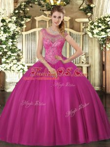 Fuchsia Tulle Lace Up Quinceanera Gown Sleeveless Floor Length Beading