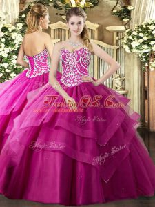 Fuchsia Lace Up Sweetheart Beading and Ruffled Layers Quinceanera Dress Tulle Sleeveless