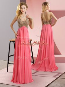 Watermelon Red Zipper Womens Party Dresses Beading Sleeveless Floor Length Sweep Train