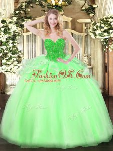 Sleeveless Organza Lace Up Ball Gown Prom Dress for Military Ball and Sweet 16 and Quinceanera