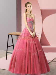 Customized Beading Prom Dress Coral Red Lace Up Sleeveless Floor Length
