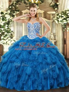 Ball Gowns Ball Gown Prom Dress Blue Sweetheart Tulle Sleeveless Floor Length Lace Up