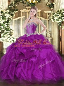 Purple Ball Gowns Organza Sweetheart Sleeveless Beading and Ruffles Floor Length Lace Up Sweet 16 Dresses